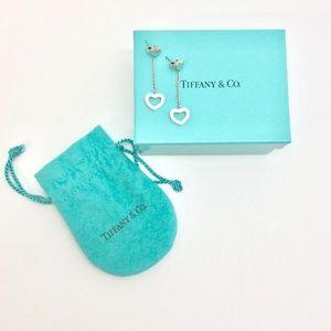 Tiffany & Co. Sterling Double Heart Drop Earrings